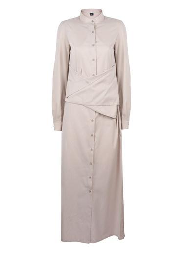 Mizalle Önü Bağlamalı Poplin Elbise Bej